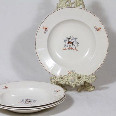 Arabia Kauris lautaset, syvä, 4 kpl, suunnittelija Tyra Lungren, syvä, siirtokuva
