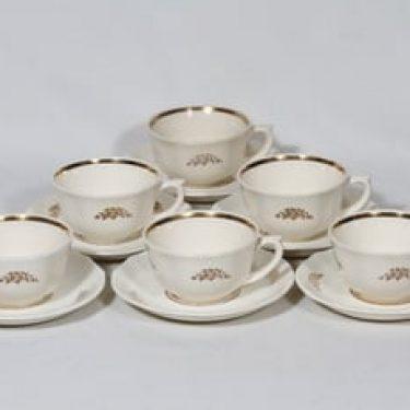 Arabia Irja kahvikupit, 6 kpl, suunnittelija , painettu, kullattu