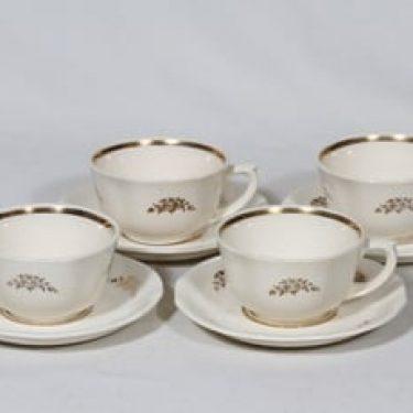 Arabia Irja kahvikupit, 4 kpl, suunnittelija , painettu, kullattu
