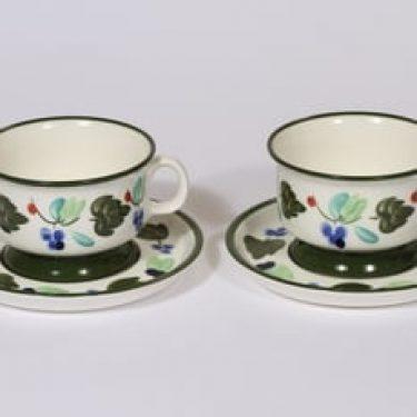 Arabia Palermo teekupit, 2, suunnittelija Dorrit von Fieandt, 2, käsinmaalattu, signeerattu