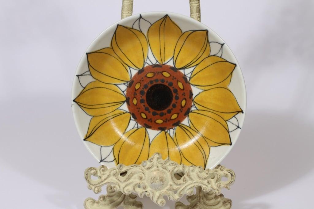 Arabia Aurinkoruusu lautanen, syvä, suunnittelija Hilkka-Liisa Ahola, syvä, käsinmaalattu, signeerattu