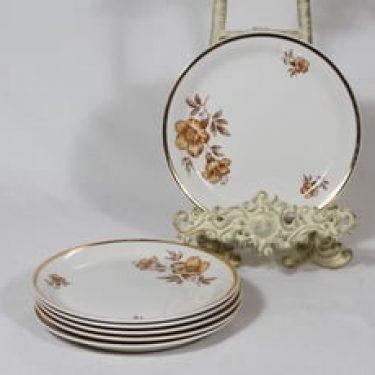 Arabia Myrna leivoslautaset, 6 kpl, suunnittelija Olga Osol, serikuva, kukka-aihe
