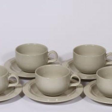Arabia Saaristo teekupit, harmaa, 5 kpl, suunnittelija Inkeri Leivo,