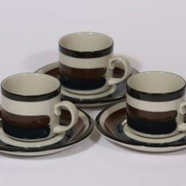 Arabia Kaira kahvikupit, 3 kpl, suunnittelija Anja Jaatinen-Winquist, raitakoriste
