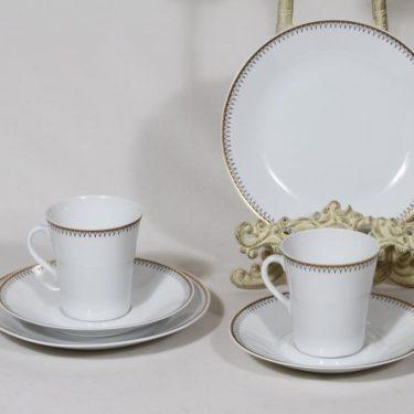Arabia Helios kahvikupit ja lautaset, 2 kpl, suunnittelija Raija Uosikkinen, serikuva, ornamentti