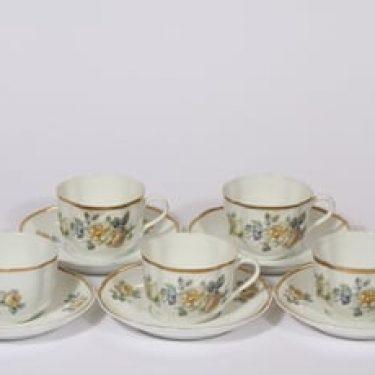 Arabia nimetön koriste kahvikupit, kukka-aihe, 5 kpl, suunnittelija , kukka-aihe, siirtokuva, kukka-aihe, nimetön koriste
