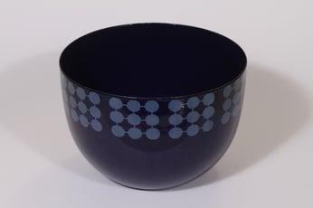 Finel kulho, sininen, suunnittelija Raija Uosikkinen, suuri, serikuva, retro