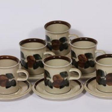 Arabia Ruija kahvikupit, käsinmaalattu, 6 kpl, suunnittelija Raija Uosikkinen, käsinmaalattu