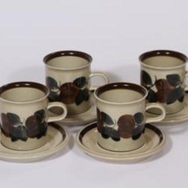 Arabia Ruija kahvikupit, käsinmaalattu, 4 kpl, suunnittelija Raija Uosikkinen, käsinmaalattu