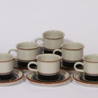Arabia Taika kahvikupit, 6 kpl, suunnittelija , raitakoriste