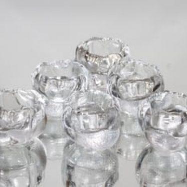 Nuutajärvi Tipu munakupit, kirkas, 6 kpl, suunnittelija Kerttu Nurminen,