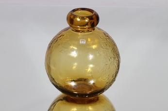 Riihimäen lasi Tellus koristepullo, amber, suunnittelija Erkkitapio Siiroinen,