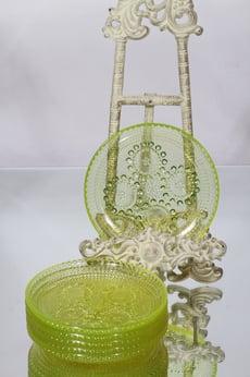 Riihimäen lasi Grapponia lautaset, keltainen, 6 kpl, suunnittelija Nanny Still, pieni