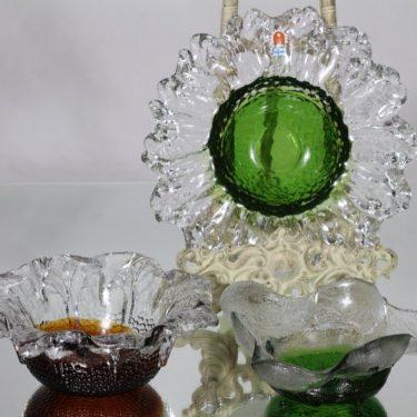 Humppila kulhot, kirkas-vihreä/ruskea, 3 kpl, suunnittelija Pertti Santalahti, pieni