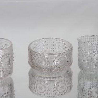 Riihimäen lasi Grapponia sokerikko, kermakko ja lasi, kirkas, suunnittelija Nanny Still,