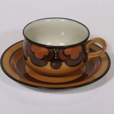 Arabia Kalevala teekuppi, käsinmaalattu, suunnittelija Anja Jaatinen-Winquist, käsinmaalattu, signeerattu, retro