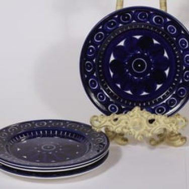 Arabia Valencia leivoslautaset, käsinmaalattu, 4 kpl, suunnittelija Ulla Procope, käsinmaalattu, signeerattu