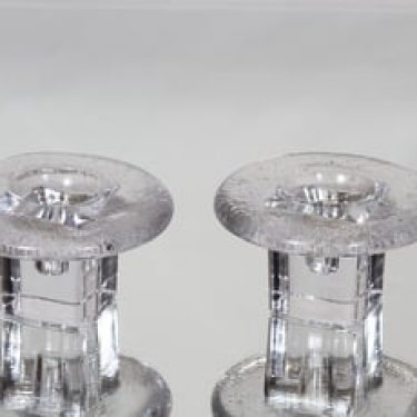Riihimäen lasi Tulva kynttilänjalat, kirkas, 2 kpl, suunnittelija Nanny Still, pieni, massiivinen