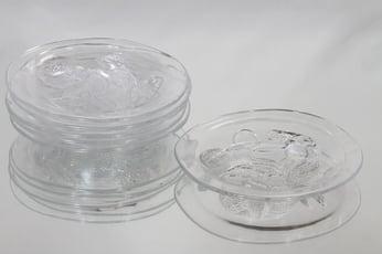 Nuutajärvi Pioni lautaset, kirkas, 6 kpl, suunnittelija Oiva Toikka, pieni