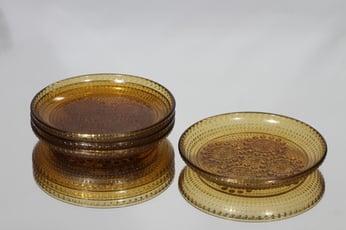 Riihimäen lasi Grapponia lautaset, amber, 4 kpl, suunnittelija Nanny Still, pieni