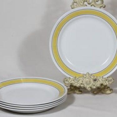Arabia Faenza lautaset, raitakoriste, 5 kpl, suunnittelija Inkeri Seppälä, raitakoriste, matala