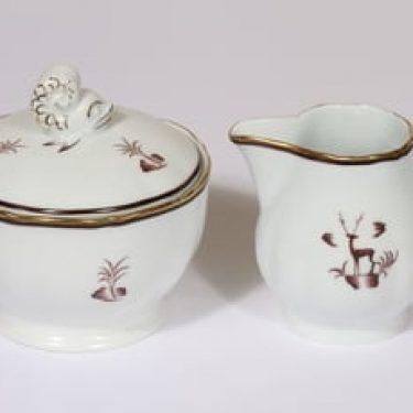 Arabia Diana sokerikko ja kermakko, suunnittelija Einar Forseth, painokoriste