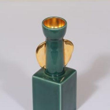 Arabia kynttilänjalka, signeerattu, suunnittelija Olli Vasa, signeerattu, pieni, kullattu, numeroitu