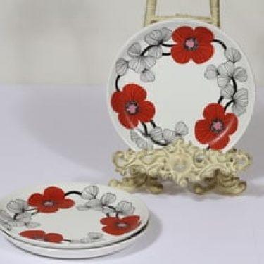 Arabia Isokukka leivoslautaset, punainen, 3 kpl, suunnittelija Esteri Tomula, serikuva, kukka-aihe, retro