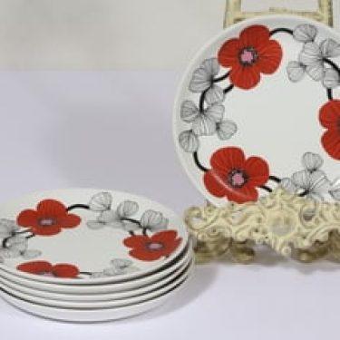 Arabia Isokukka leivoslautaset, punainen, 6 kpl, suunnittelija Esteri Tomula, serikuva, kukka-aihe, retro