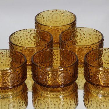 Riihimäen lasi Grapponia jälkiruokakulhot, amber, 6 kpl, suunnittelija Nanny Still,