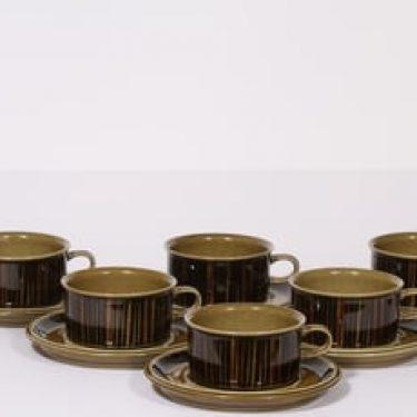 Arabia Kosmos teekupit, ruskea, 6 kpl, suunnittelija Gunvor Olin-Grönqvist, puhalluskoriste, retro