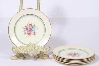 Arabia Tellervo lautaset, pieni, 6 kpl, suunnittelija , pieni, serikuva, kukka-aihe