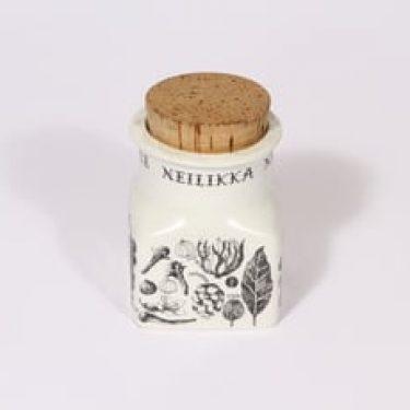 Arabia tekstikuvio maustepurkki, tekstikuvio, suunnittelija Esteri Tomula, serikuva