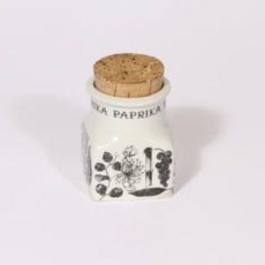 Arabia tekstikuvio maustepurkki, tekstikuvio, suunnittelija Esteri Tomula, tekstikuvio, serikuva