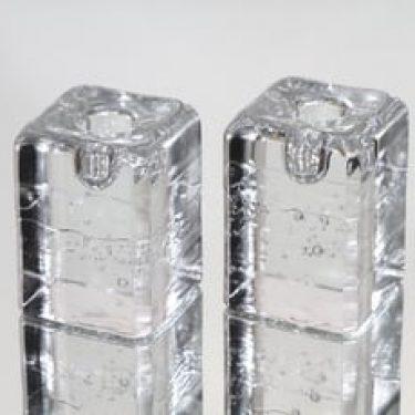 Iittala Arkipelago kynttilänjalat, kirkas, 2 kpl, suunnittelija Timo Sarpaneva, pieni, massiivinen
