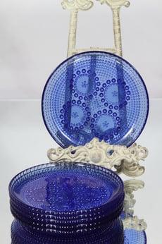 Riihimäen lasi Grapponia lautaset, sininen, 6 kpl, suunnittelija Nanny Still, pieni
