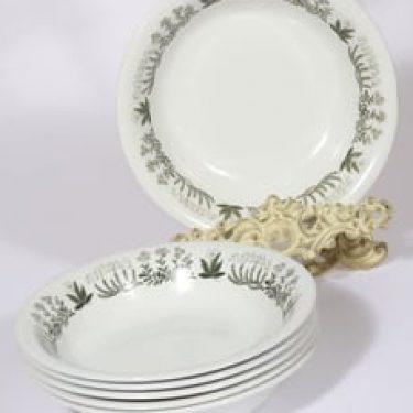 Arabia Polaris lautaset, syvä, 6 kpl, suunnittelija Raija Uosikkinen, syvä, serikuva, kukka-aihe
