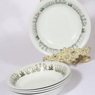 Arabia Polaris lautaset, syvä, 5 kpl, suunnittelija Raija Uosikkinen, syvä, serikuva, kukka-aihe