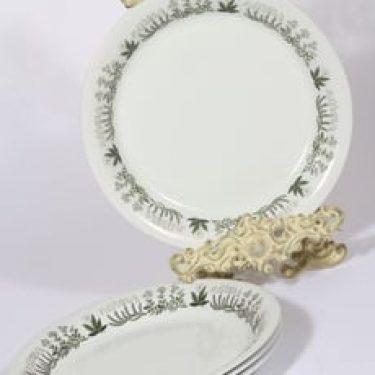 Arabia Polaris lautaset, matala, 4 kpl, suunnittelija Raija Uosikkinen, matala, serikuva, kukka-aihe