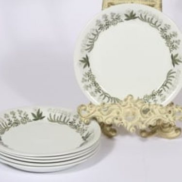Arabia Polaris lautaset, pieni, 6 kpl, suunnittelija Raija Uosikkinen, pieni, serikuva, kukka-aihe