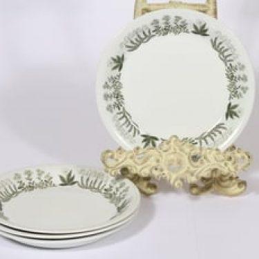 Arabia Polaris lautaset, pieni, 4 kpl, suunnittelija Raija Uosikkinen, pieni, serikuva, kukka-aihe