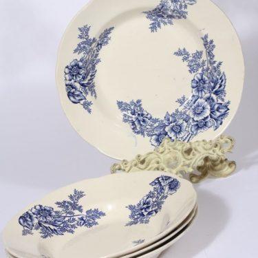 Arabia lautaset, kukkakuvio, 4 kpl, suunnittelija , kukkakuvio, kuparipainokoriste, syvä