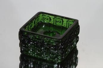 Riihimäen lasi Taalari kynttilänjalka, vihreä, suunnittelija Tamara Aladin,