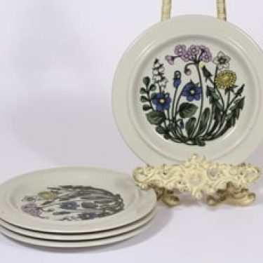Arabia Flora lautaset, 4 kpl, suunnittelija Esteri Tomula, pieni, serikuva, kukka-aihe