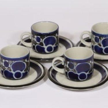 Arabia Saara kahvikupit, 13 cl, 4 kpl, suunnittelija Anja Jaatinen-Winquist, 13 cl, erikoiskoriste, retro