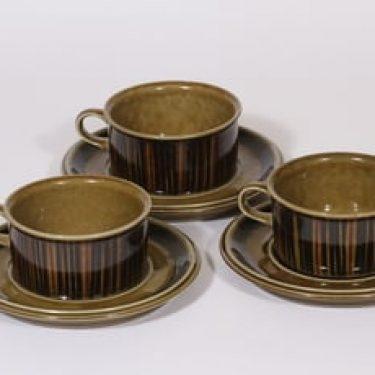 Arabia Kosmos teekupit, ruskea, 3 kpl, suunnittelija Gunvor Olin-Grönqvist, puhalluskoriste, retro