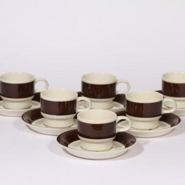Arabia Inari kahvikupit, ruskea, 6 kpl, suunnittelija Göran Bäck, raitakoriste