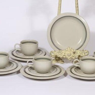 Arabia Airisto kahvikupit ja lautaset, 5 kpl, suunnittelija Inkeri Leivo, raitakoriste
