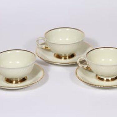Arabia Kultakoriste kahvikupit, 3 kpl, suunnittelija , kullattu