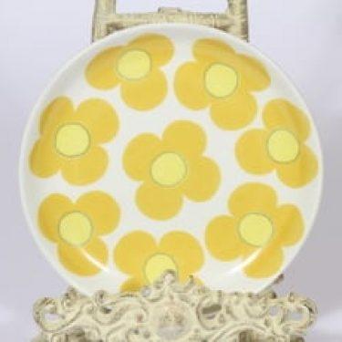 Arabia Aurinko lautanen, keltainen, suunnittelija Esteri Tomula, pieni, serikuva, retro